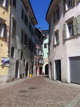 More buildings and narrow streets around Rovereto