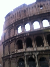 First glimpse - the Colosseum from the bus window
