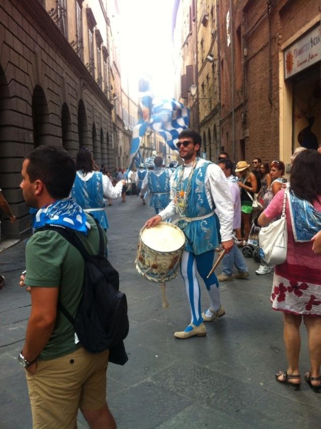 Siena Palio street parade - winning Contrada