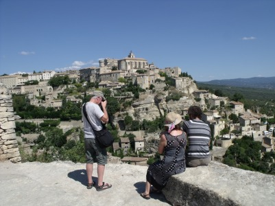 Matt and his parents overlooking Gordes