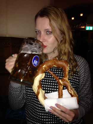 Me: drinking beer and eating pretzels, all with some serious red eye.