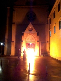 Monks burning things as part of Easter Saturday night church services