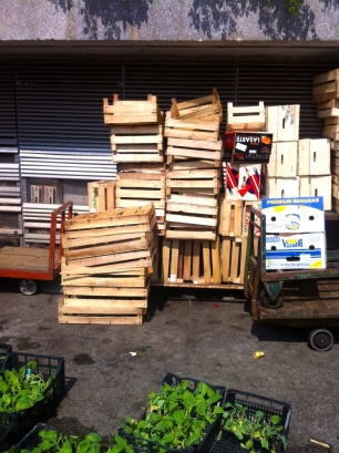 Emptied fruit crates