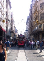 Istiklal c. Trams in Istanbul