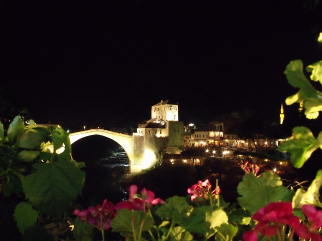 Mostar stari most at  night