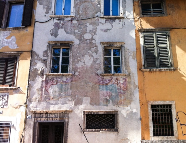 painted buildings in trento