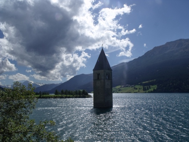 lago di resia italy church tower